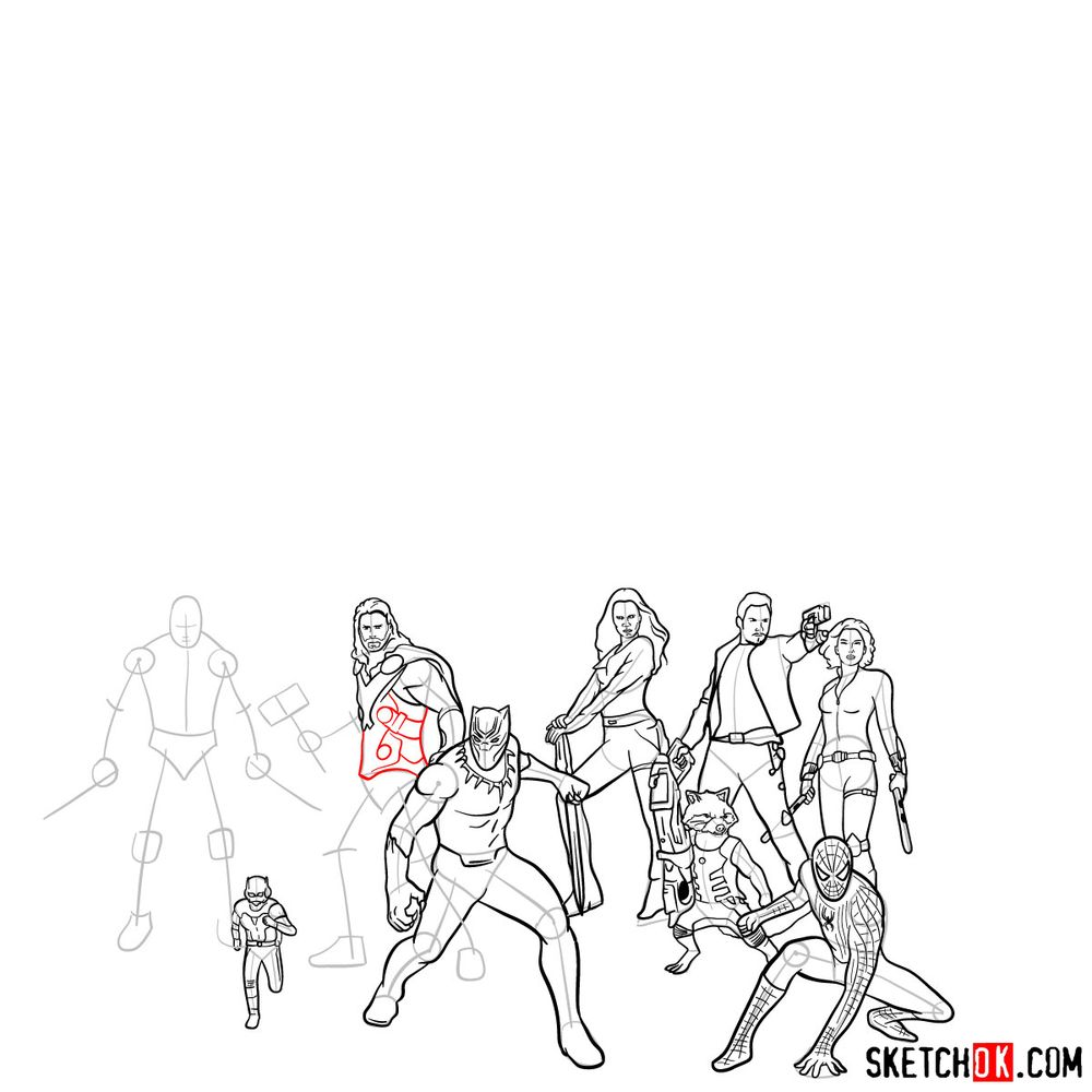 How to draw the Avengers (Infinity War) - step 29