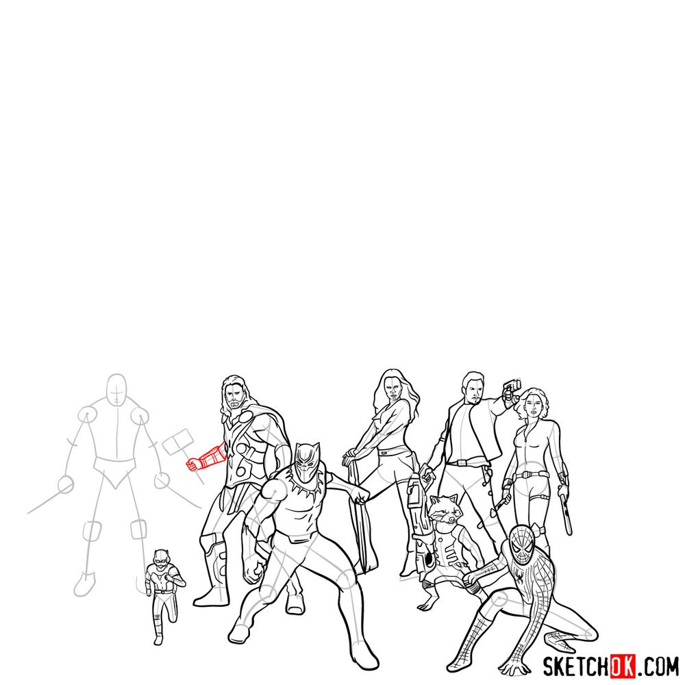 How to draw the Avengers (Infinity War) - step 32