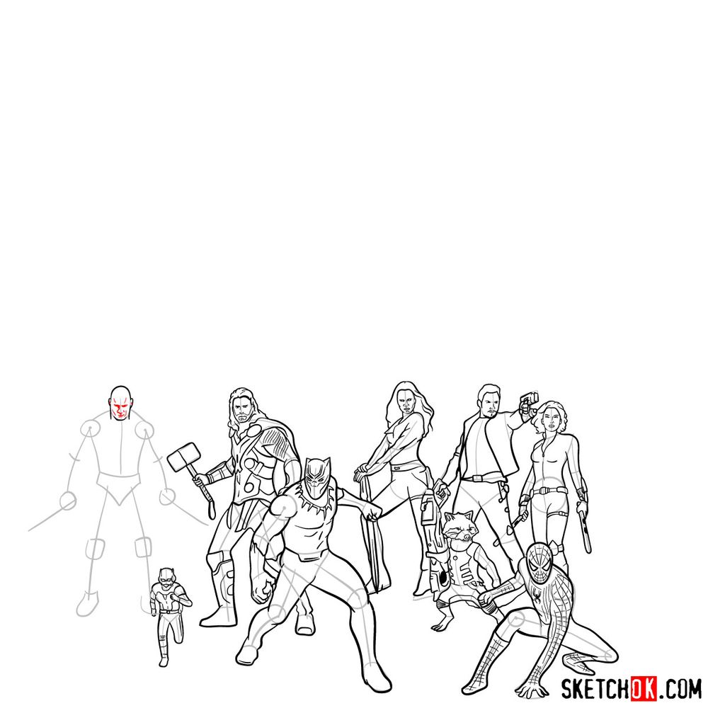 How to draw the Avengers (Infinity War) - step 02