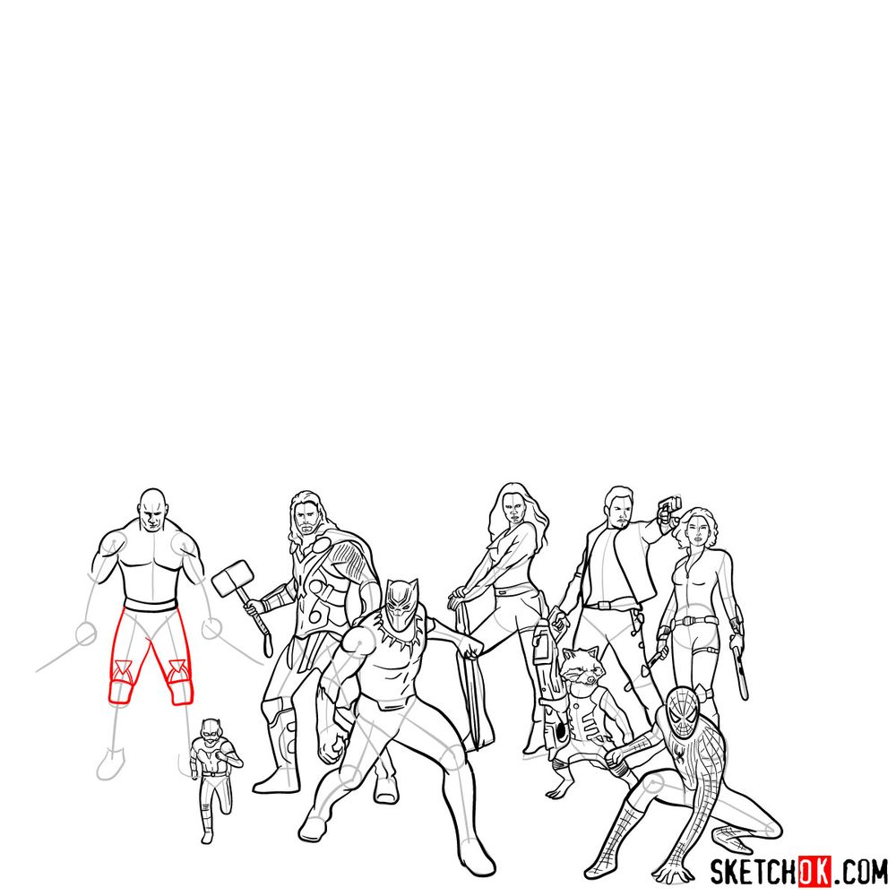 How to draw the Avengers (Infinity War) - step 05