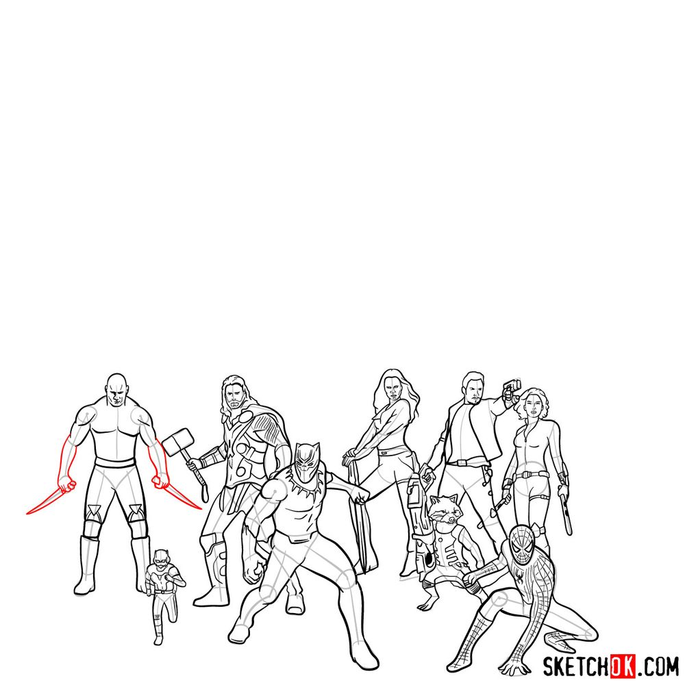 How to draw the Avengers (Infinity War) - step 07