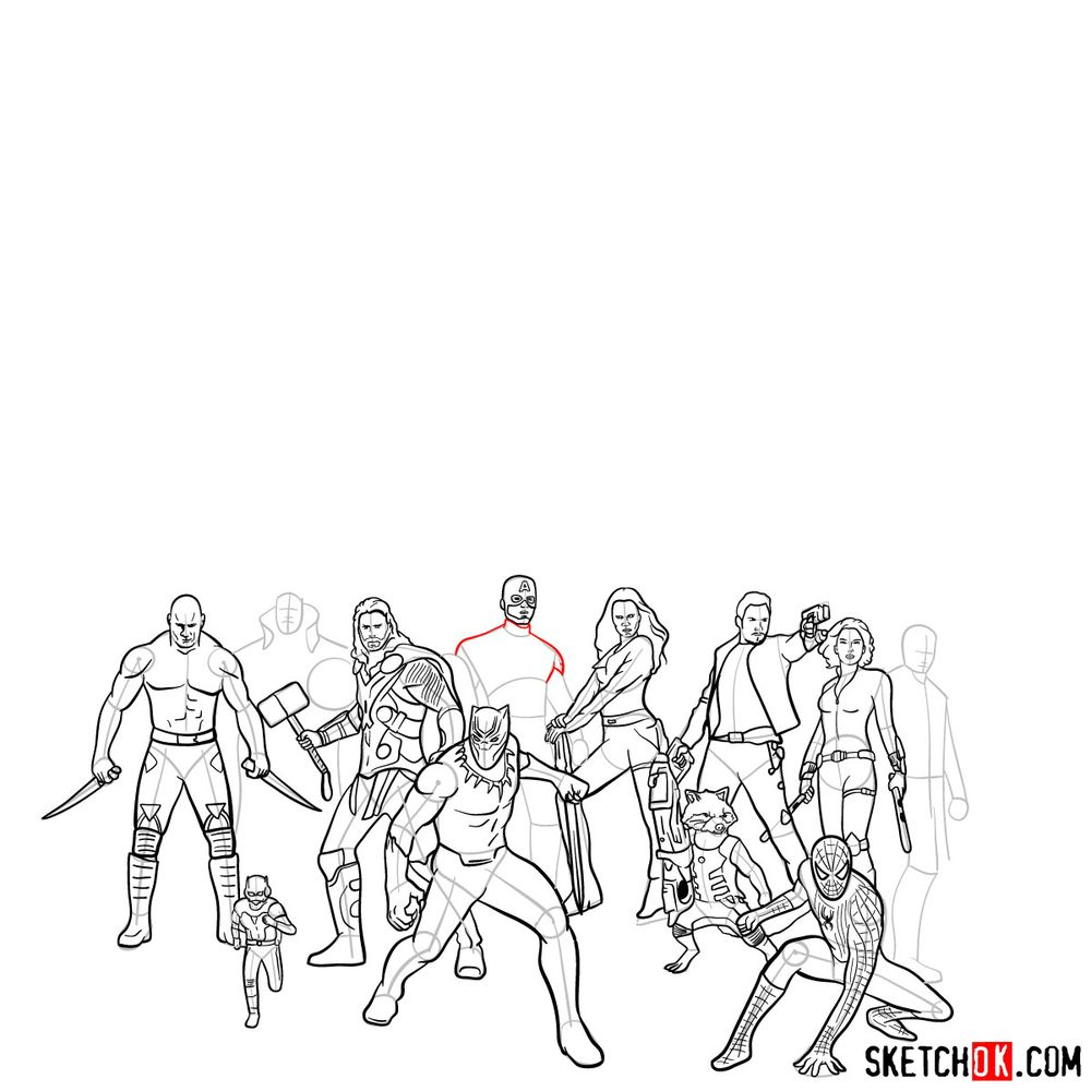 How to draw the Avengers (Infinity War) - step 12