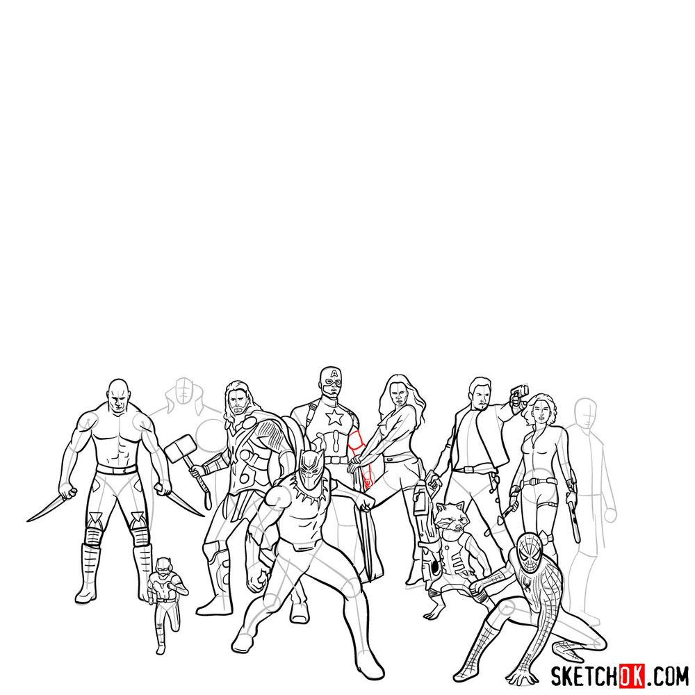 How to draw the Avengers (Infinity War) - step 15