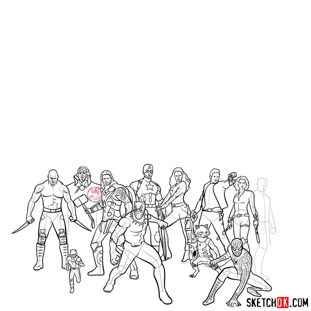 How to draw the Avengers (Infinity War) - step 21