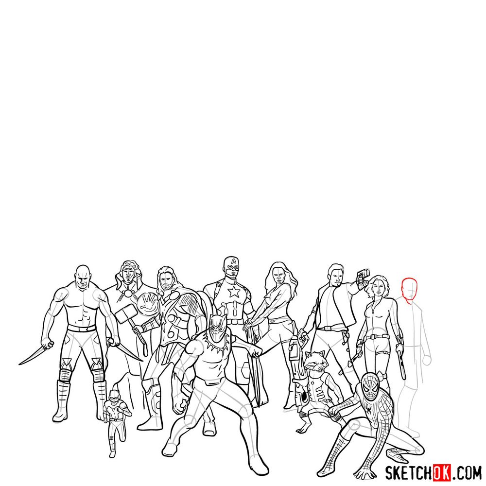 How to draw the Avengers (Infinity War) - step 23