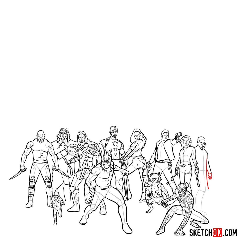 How to draw the Avengers (Infinity War) - step 26
