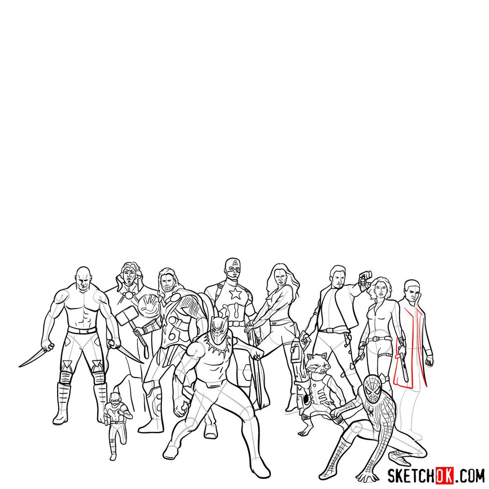 How to draw the Avengers (Infinity War) - step 27