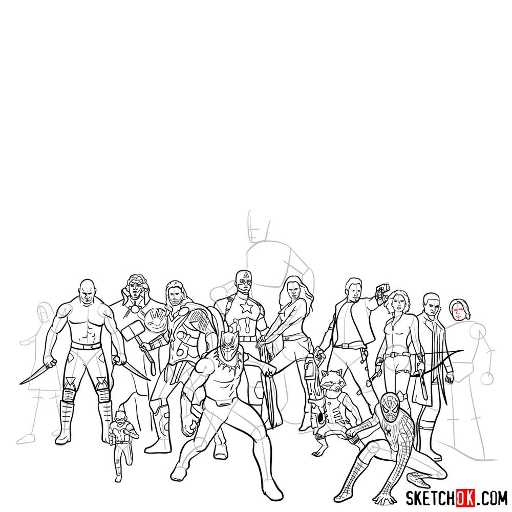 How to draw the Avengers (Infinity War) - step 03