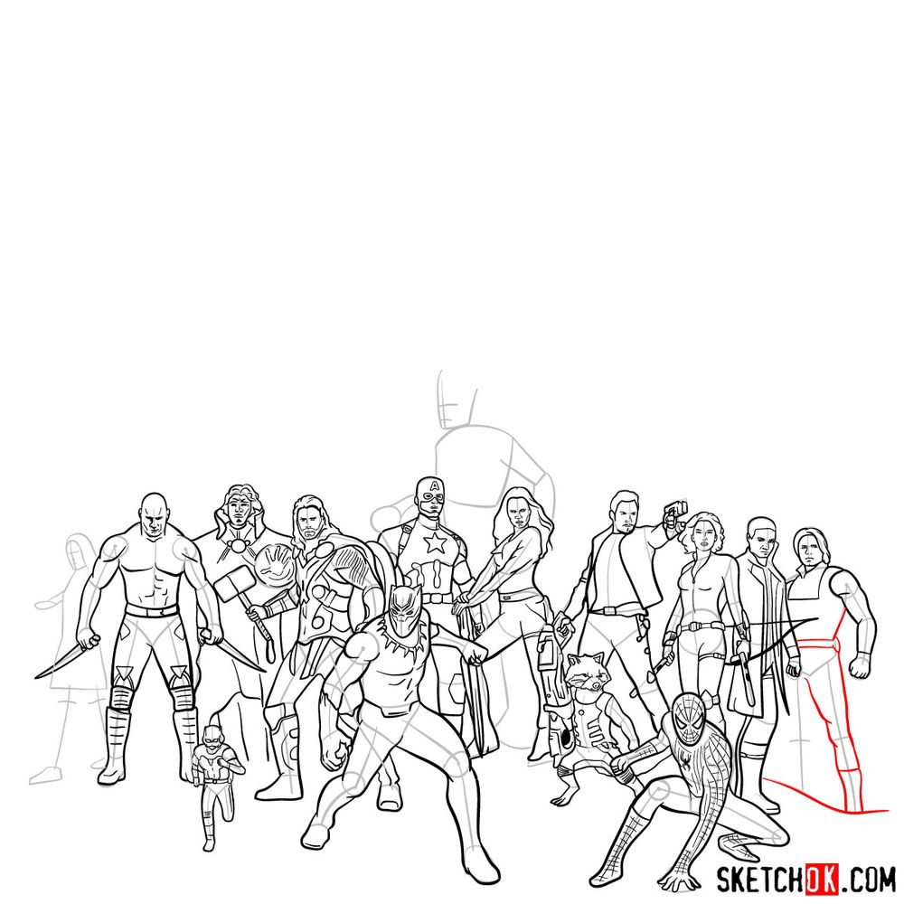 How to draw the Avengers (Infinity War) - step 06