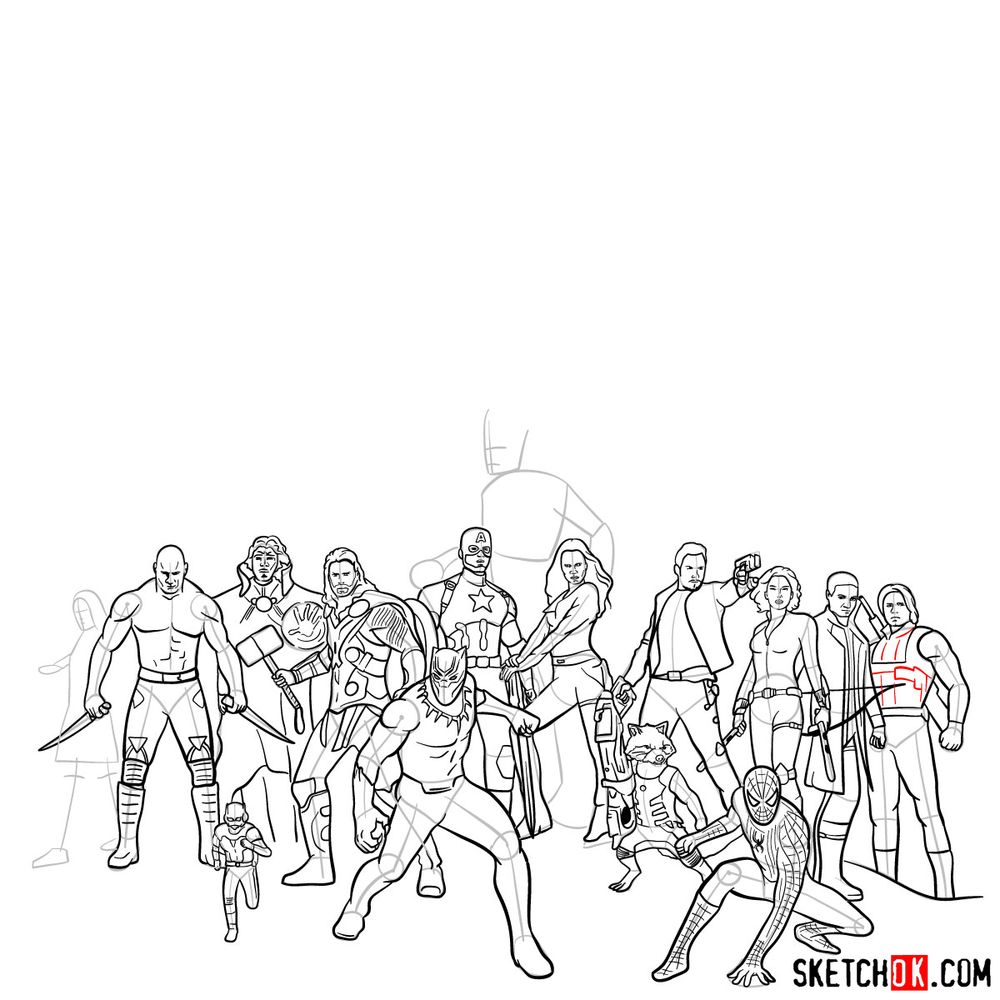 How to draw the Avengers (Infinity War) - step 08