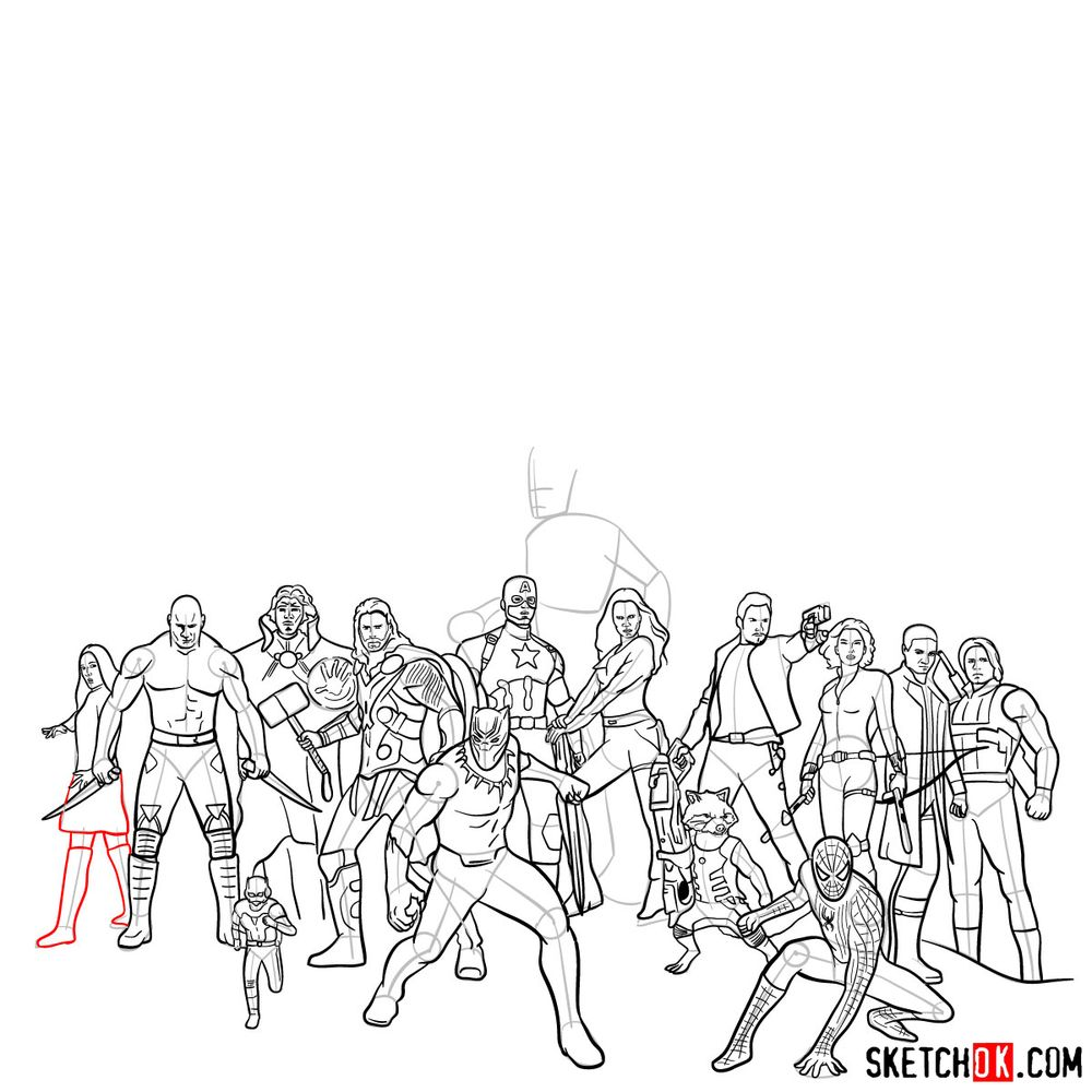 How to draw the Avengers (Infinity War) - step 13
