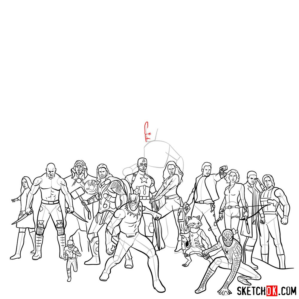 How to draw the Avengers (Infinity War) - step 14