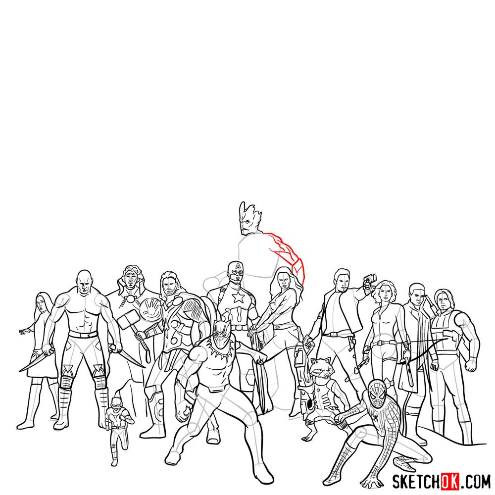 How to draw the Avengers (Infinity War) - step 16