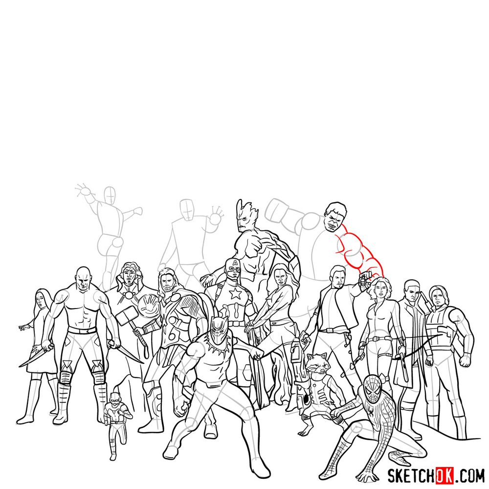 How to draw the Avengers (Infinity War) - step 04
