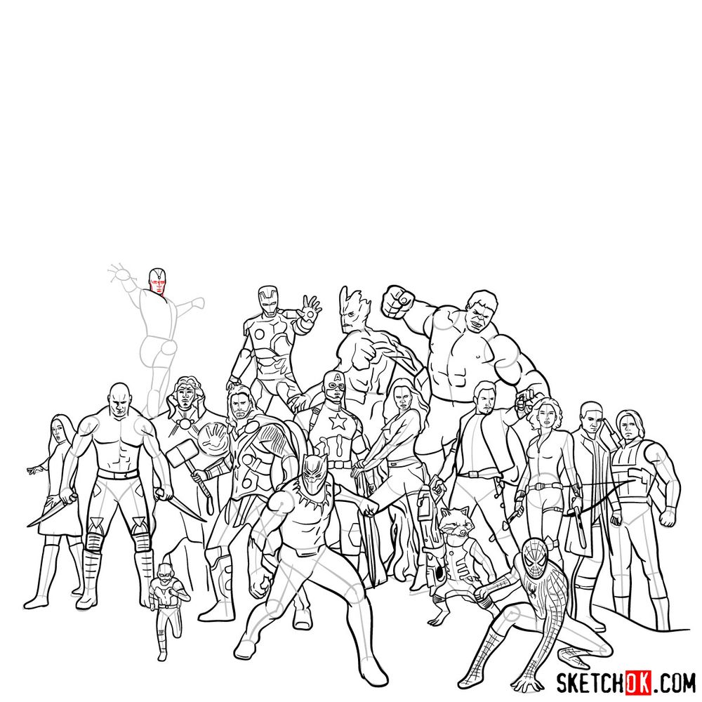 How to draw the Avengers (Infinity War) - step 17