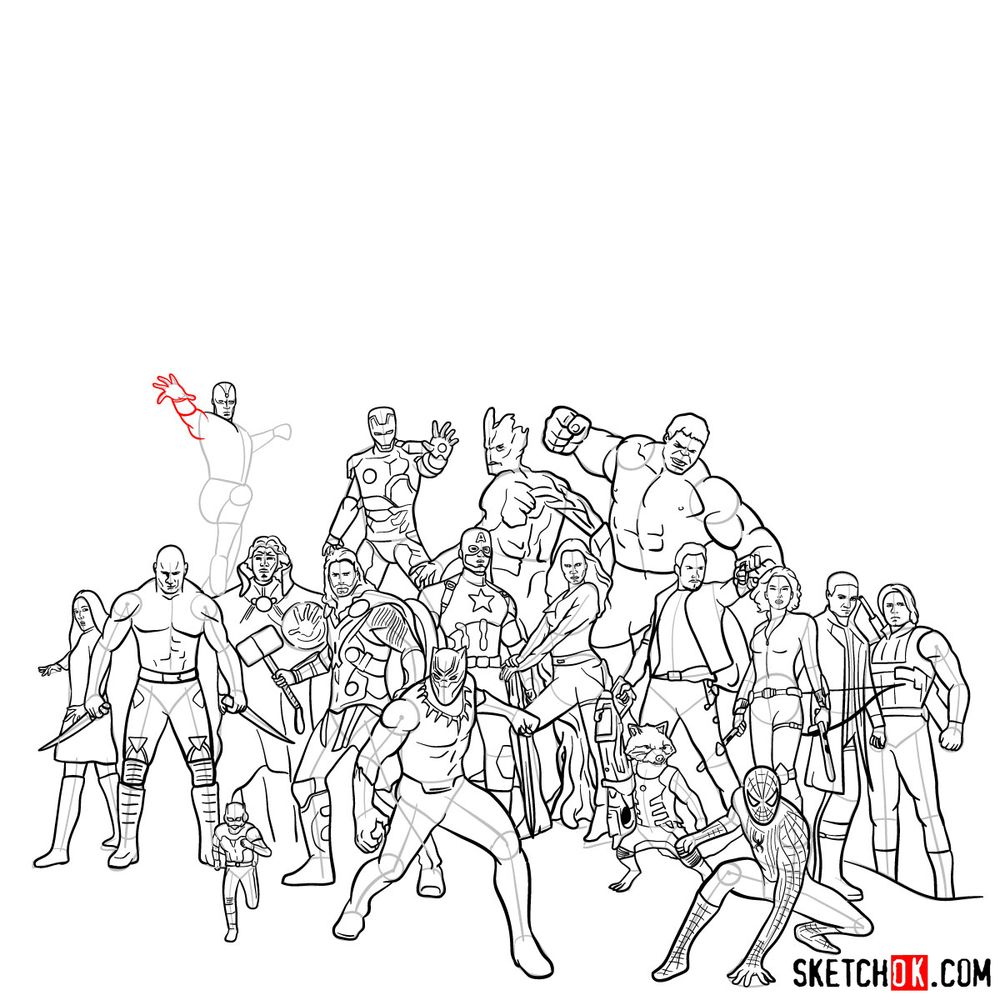 How to draw the Avengers (Infinity War) - step 18