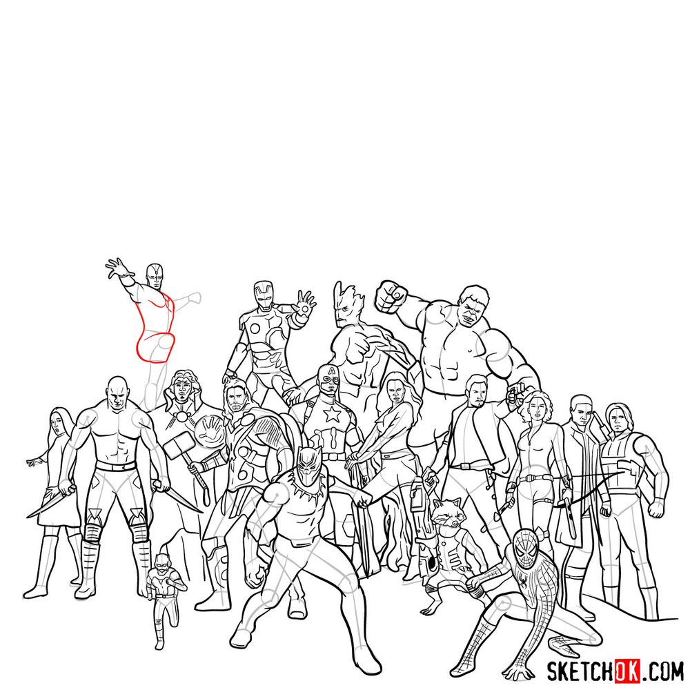 How to draw the Avengers (Infinity War) - step 19