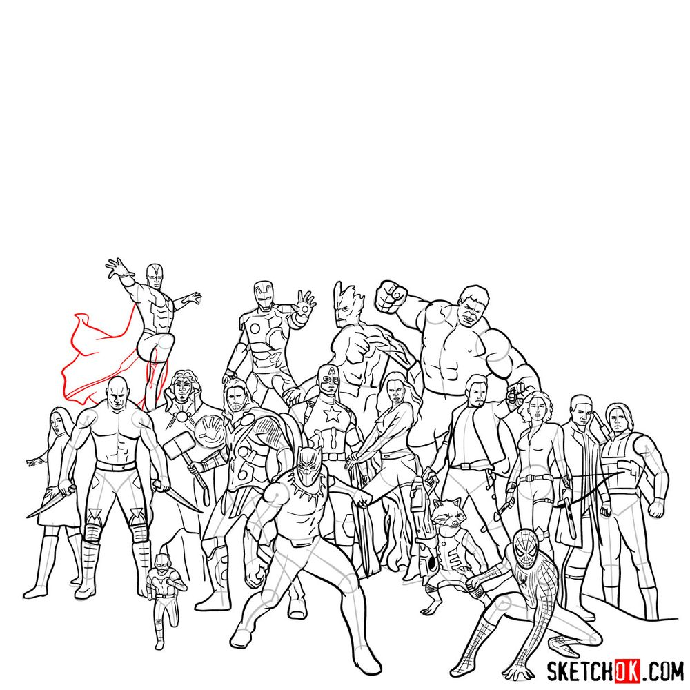 How to draw the Avengers (Infinity War) - step 22