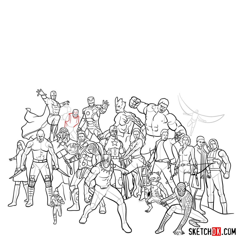 How to draw the Avengers (Infinity War) - step 25
