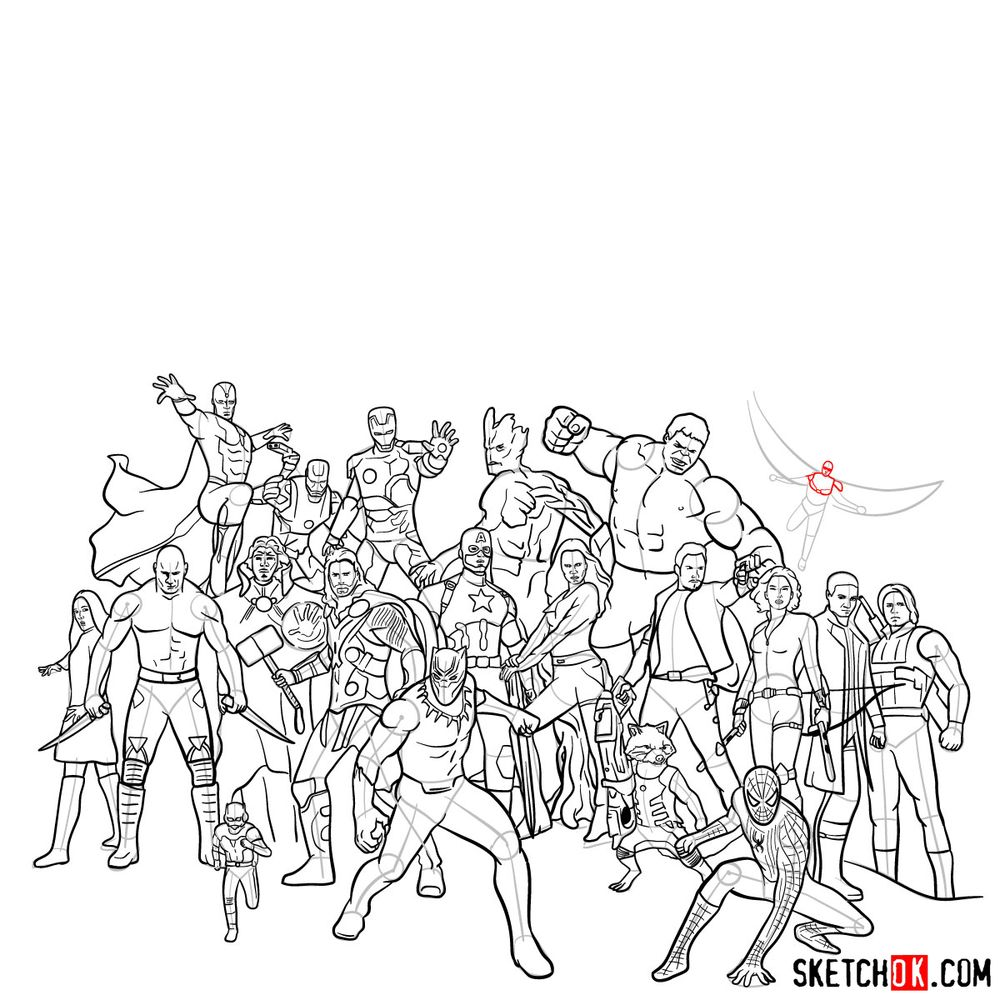 How to draw the Avengers (Infinity War) - step 28
