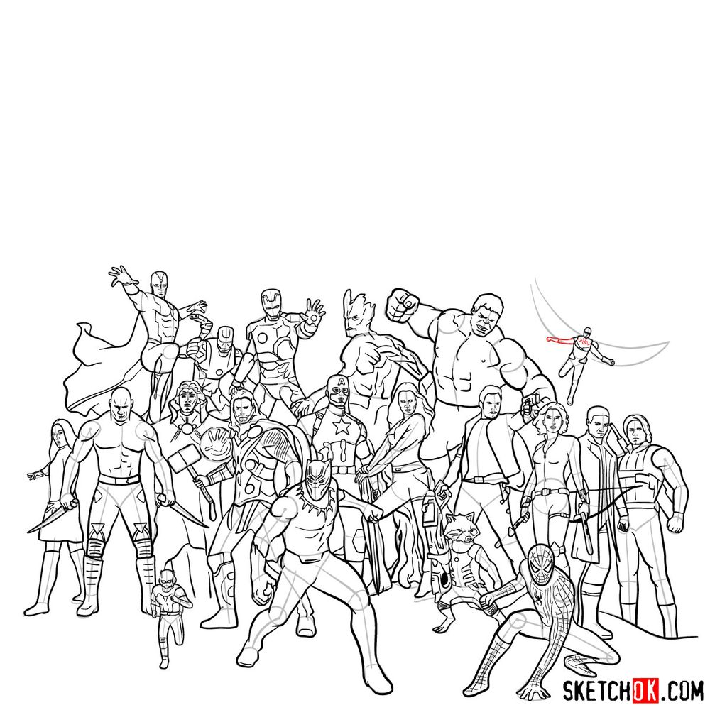 How to draw the Avengers (Infinity War) - step 30