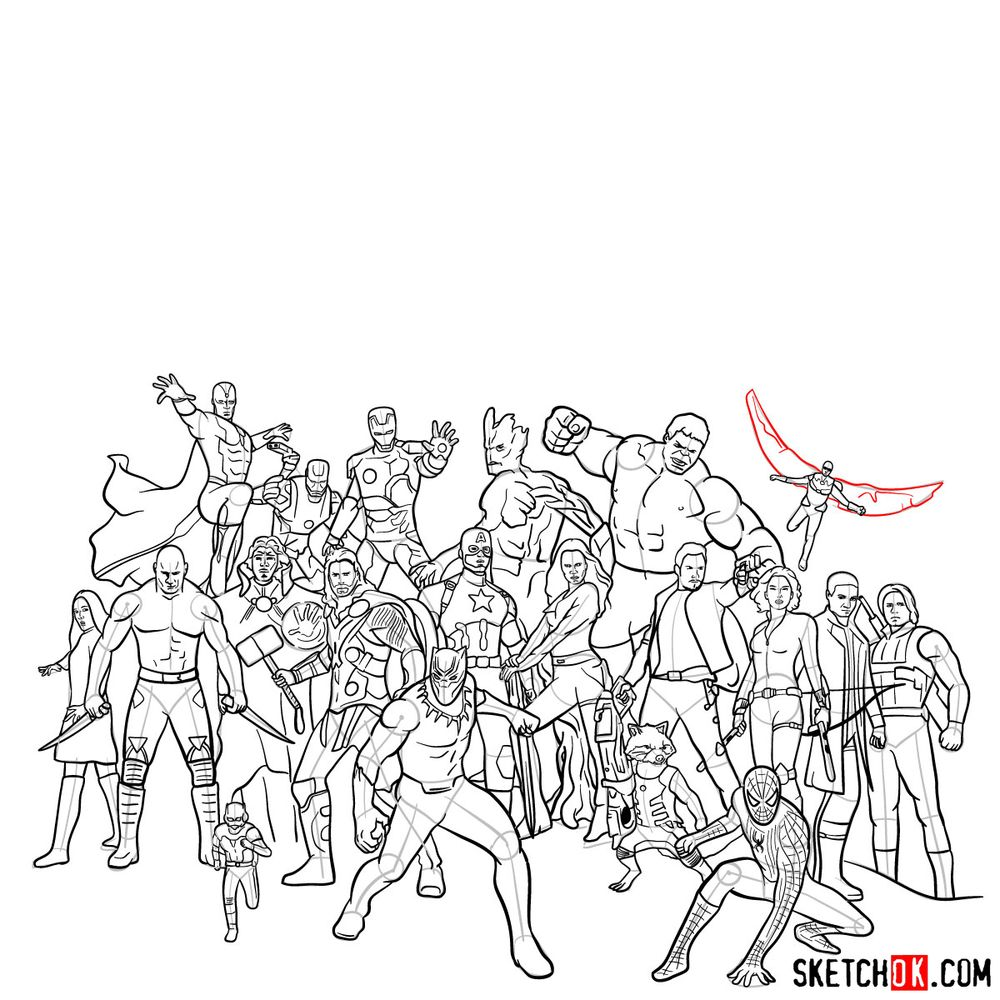 How to draw the Avengers (Infinity War) - step 31