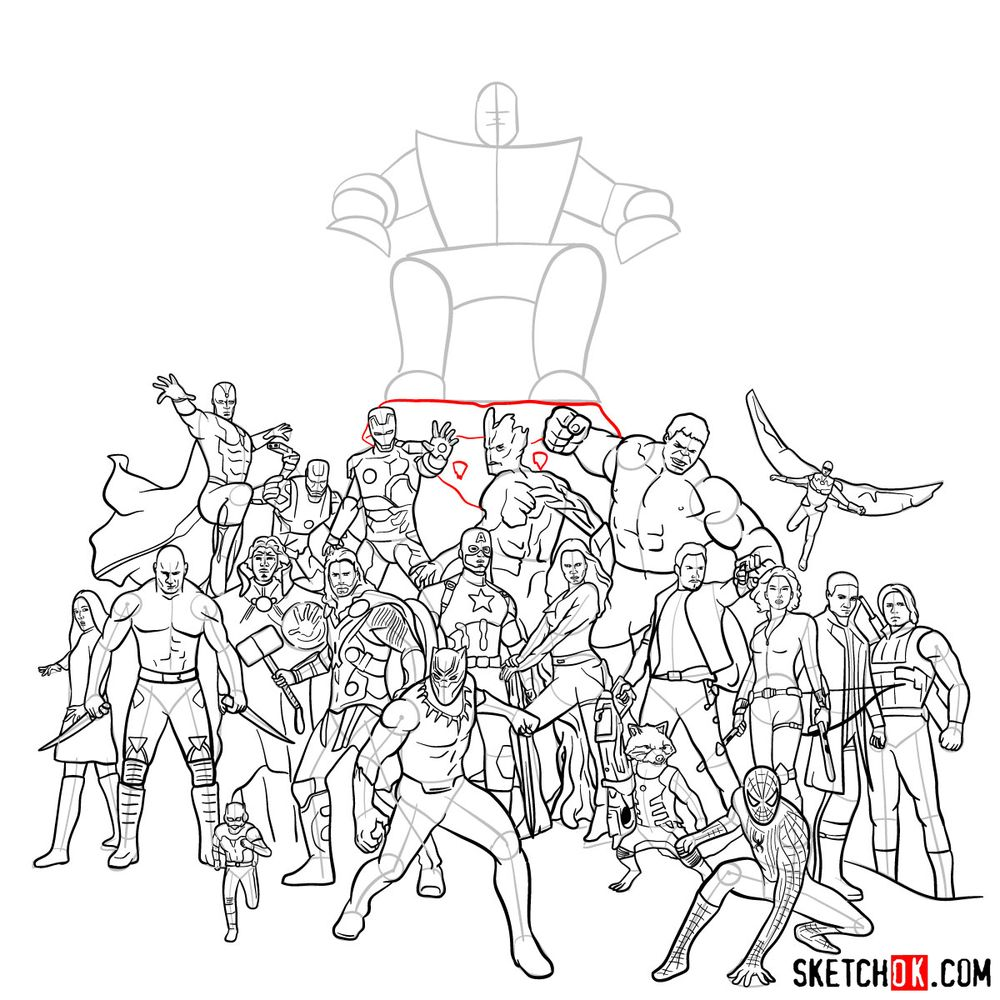 How to draw the Avengers (Infinity War) - step 33