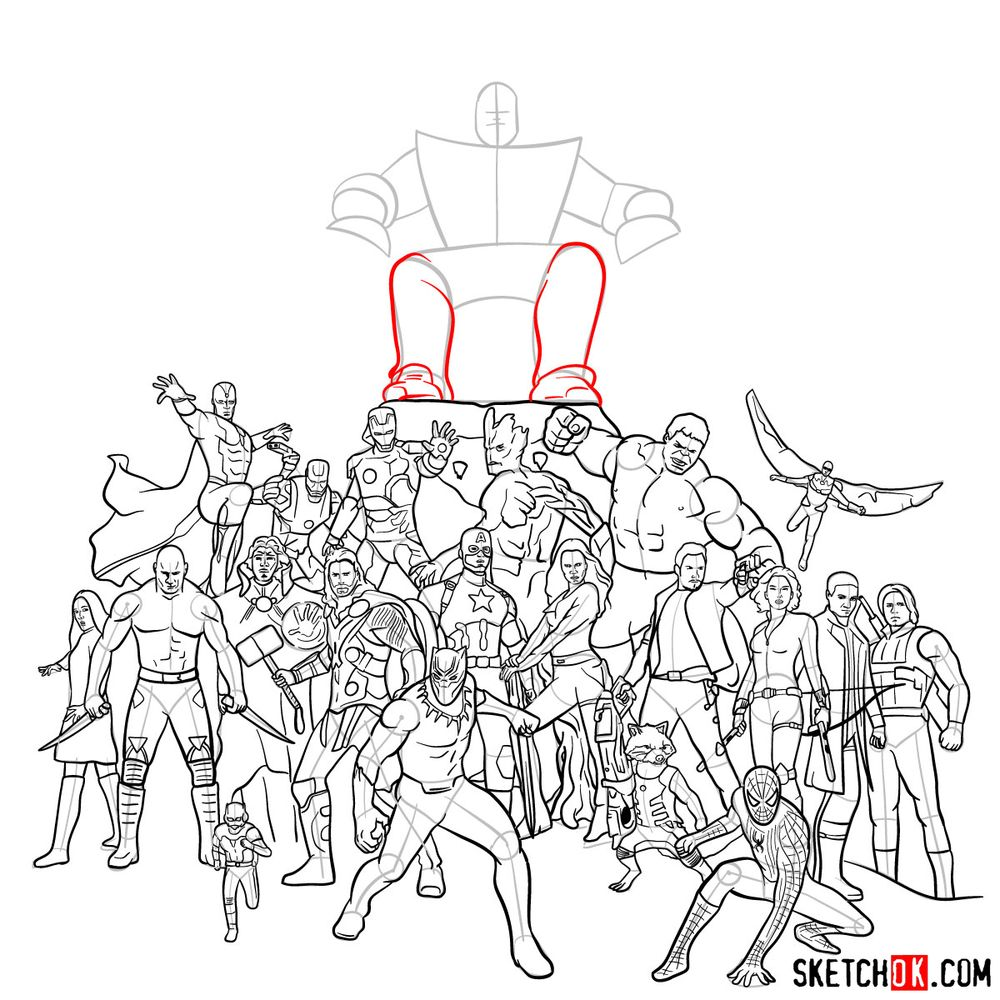 How to draw the Avengers (Infinity War) - step 34