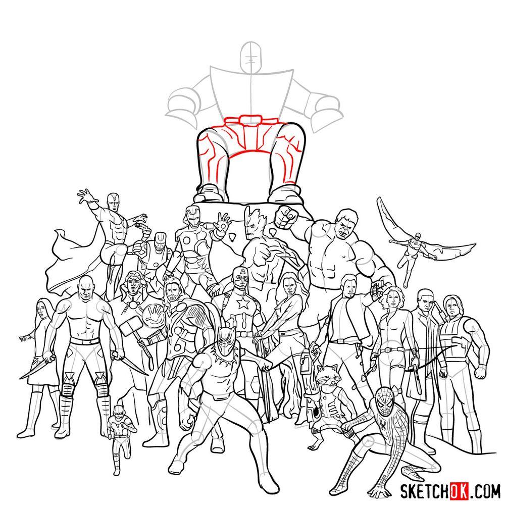 How to draw the Avengers (Infinity War) - step 35