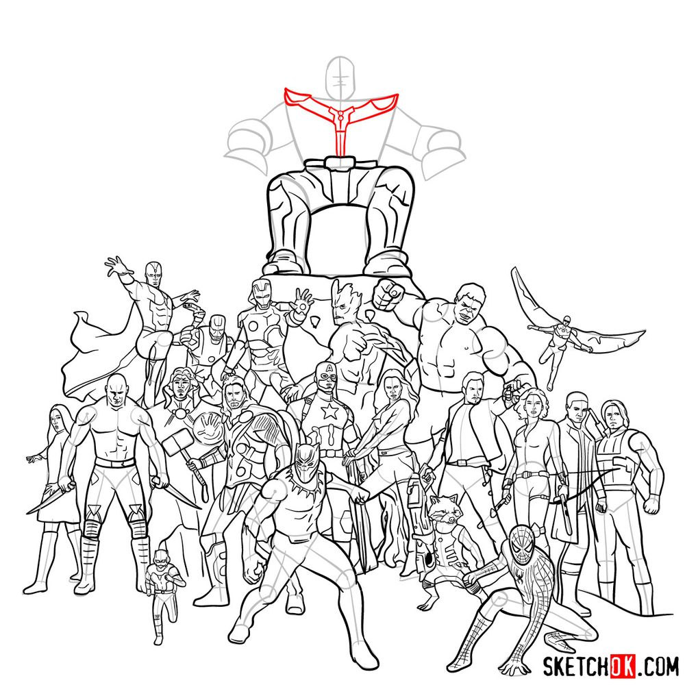 How to draw the Avengers (Infinity War) - step 36