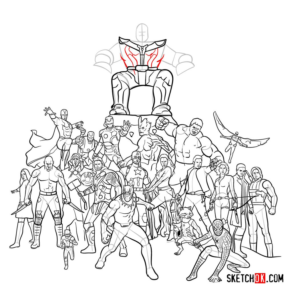 How to draw the Avengers (Infinity War) - step 37