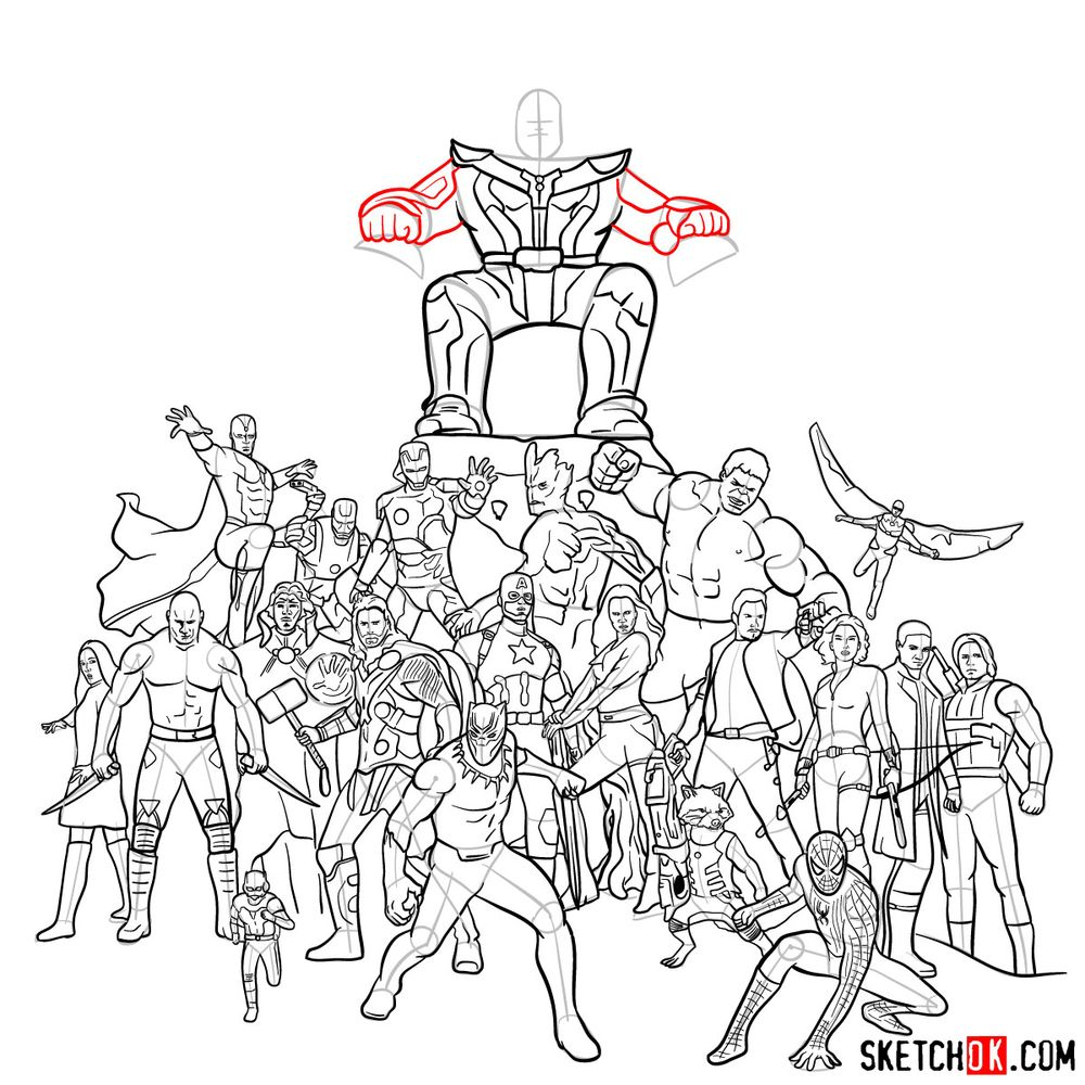 How to draw the Avengers (Infinity War) - step 38