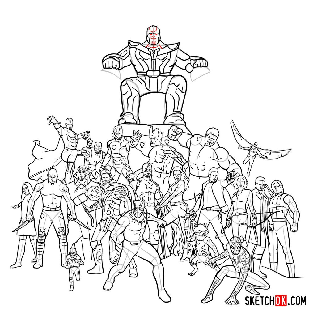How to draw the Avengers (Infinity War) - step 40