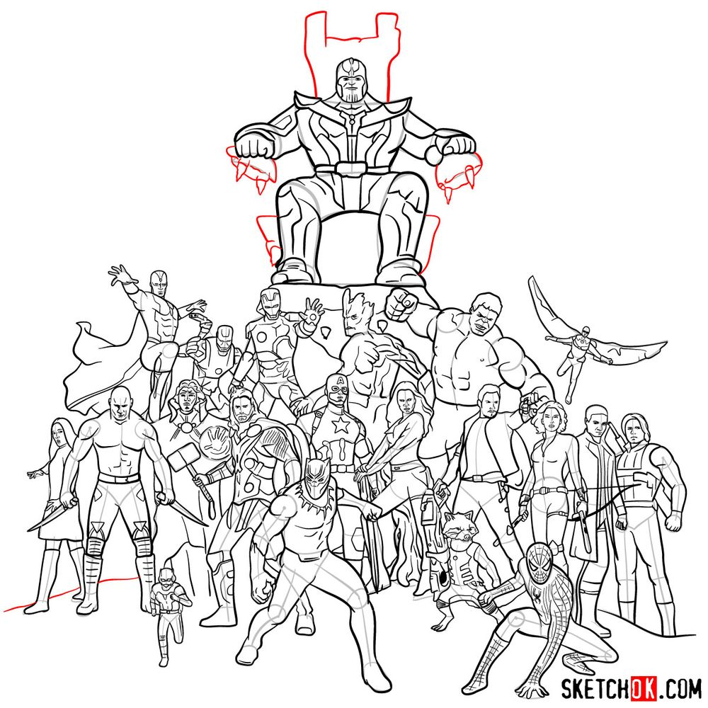 How to draw the Avengers (Infinity War) - step 41