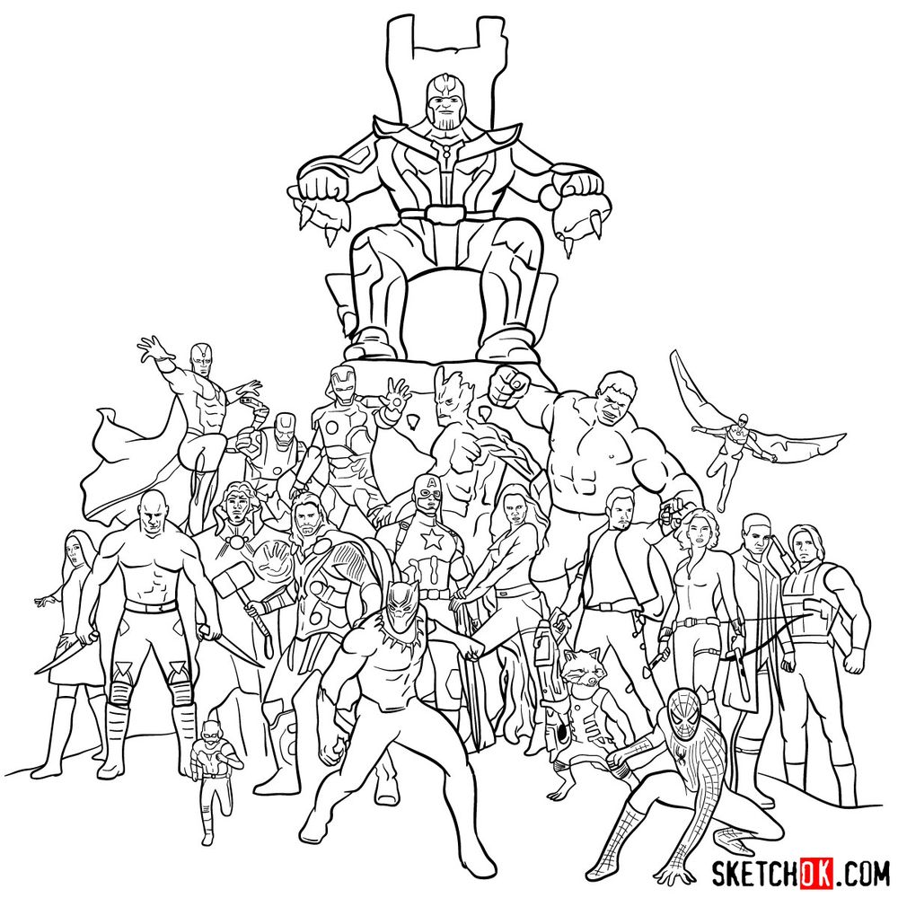 How to draw the Avengers (Infinity War) - step 42