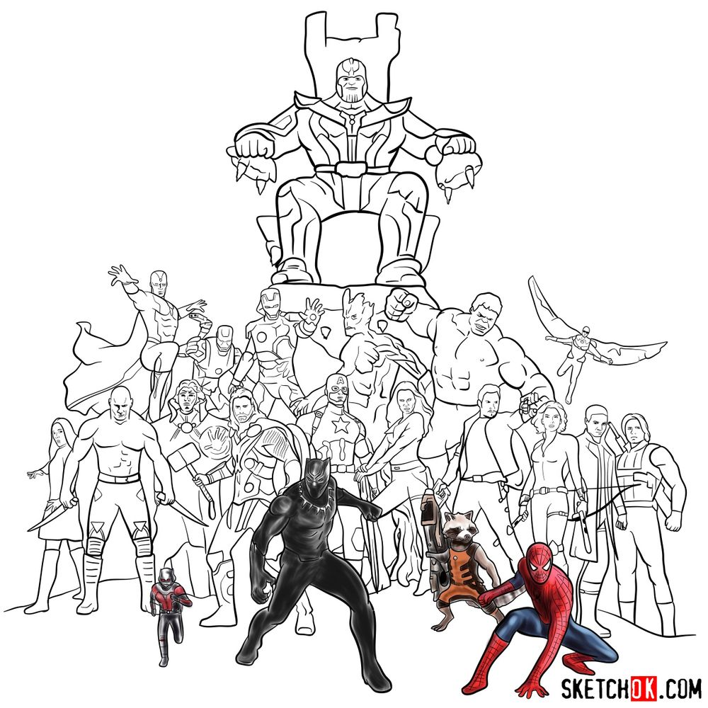 How to draw the Avengers (Infinity War) - coloring 43