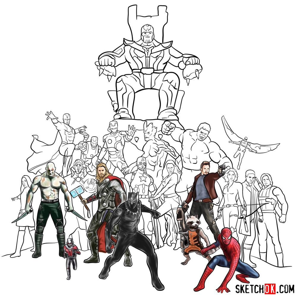 How to draw the Avengers (Infinity War) - coloring 44