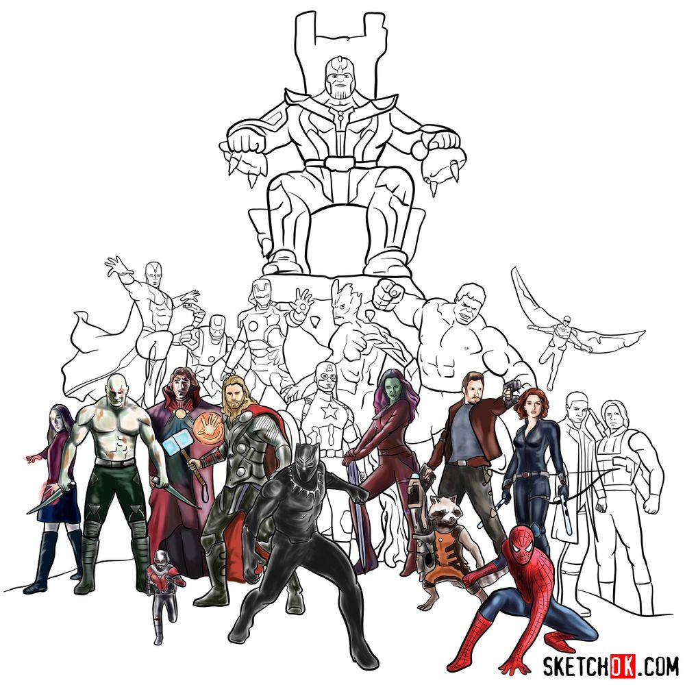 How to draw the Avengers (Infinity War) - coloring 45