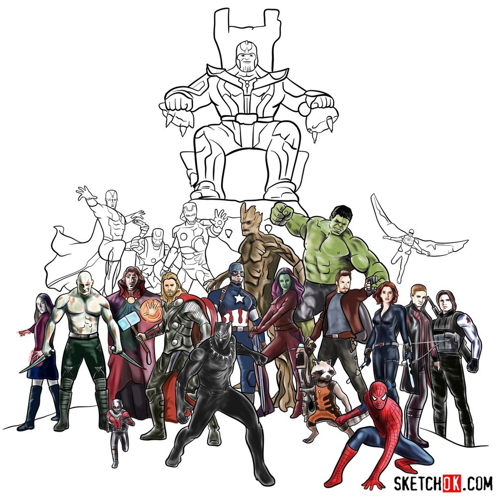 How to draw the Avengers (Infinity War) - coloring 46