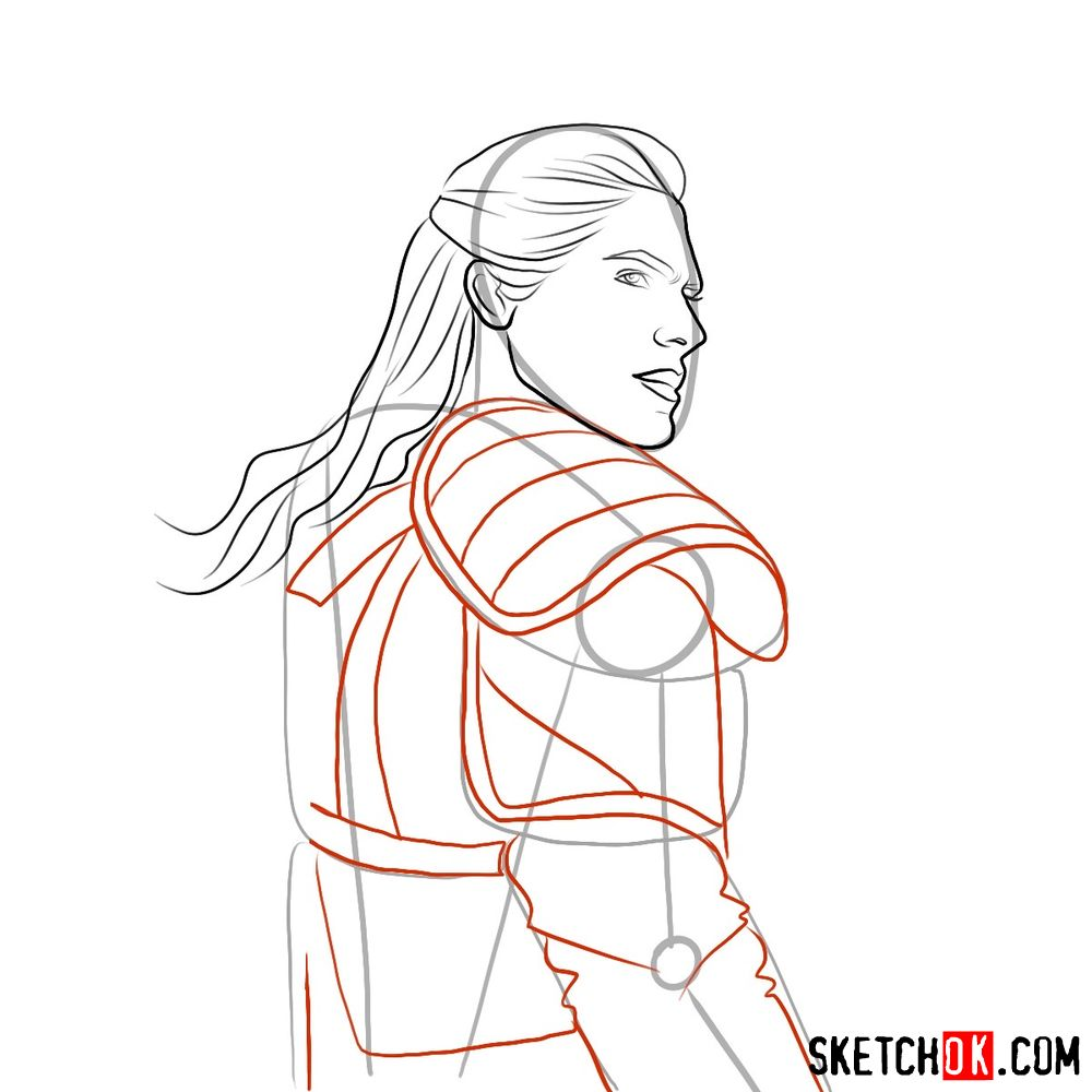 How to draw Geralt from Netflix series - step 06