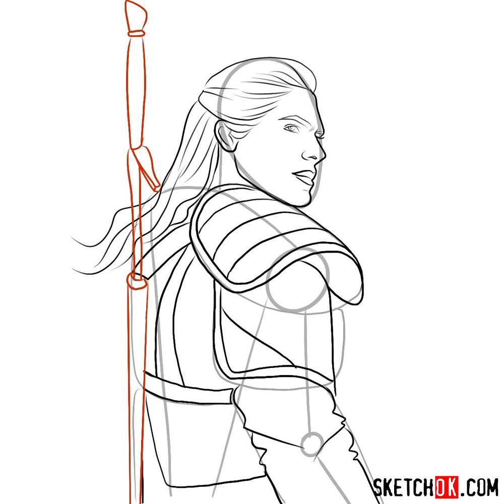 How to draw Geralt from Netflix series - step 07