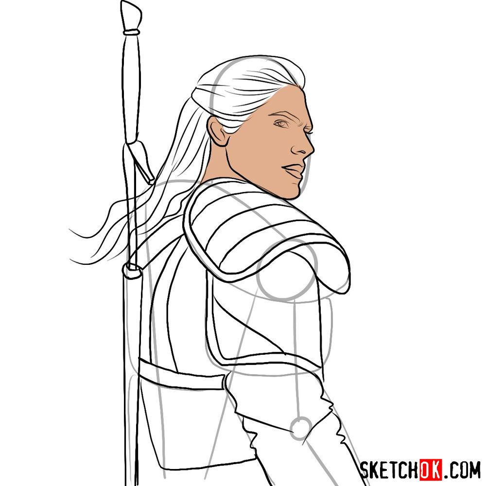 How to draw Geralt from Netflix series - step 08