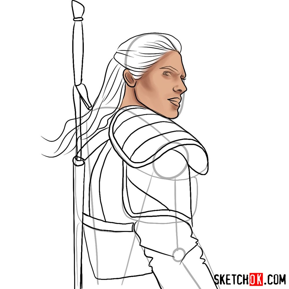 How to draw Geralt from Netflix series - step 09