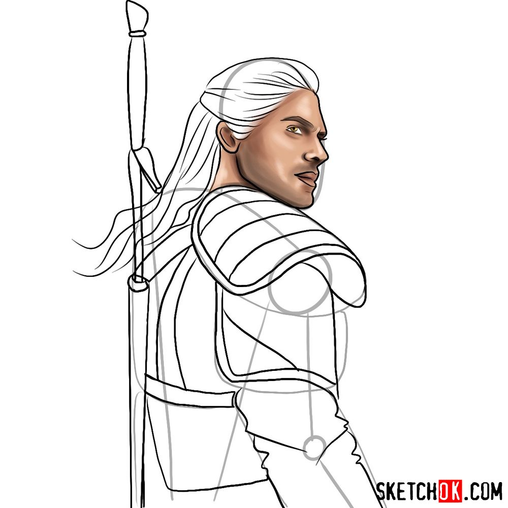 How to draw Geralt from Netflix series - step 10