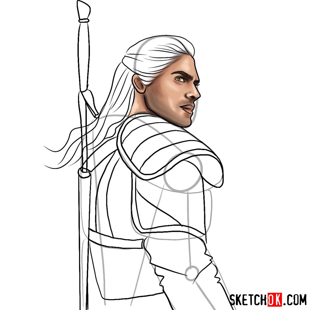 How to draw Geralt from Netflix series - step 11