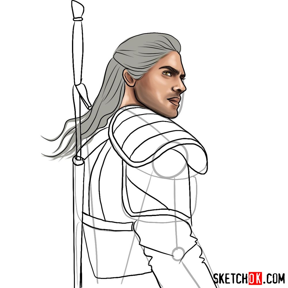 How to draw Geralt from Netflix series - step 12