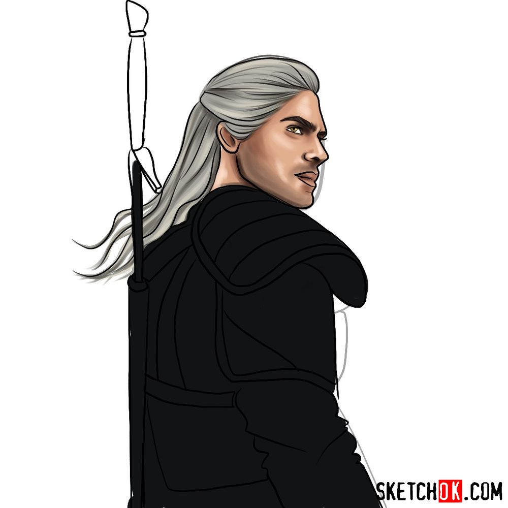 How to draw Geralt from Netflix series - step 14