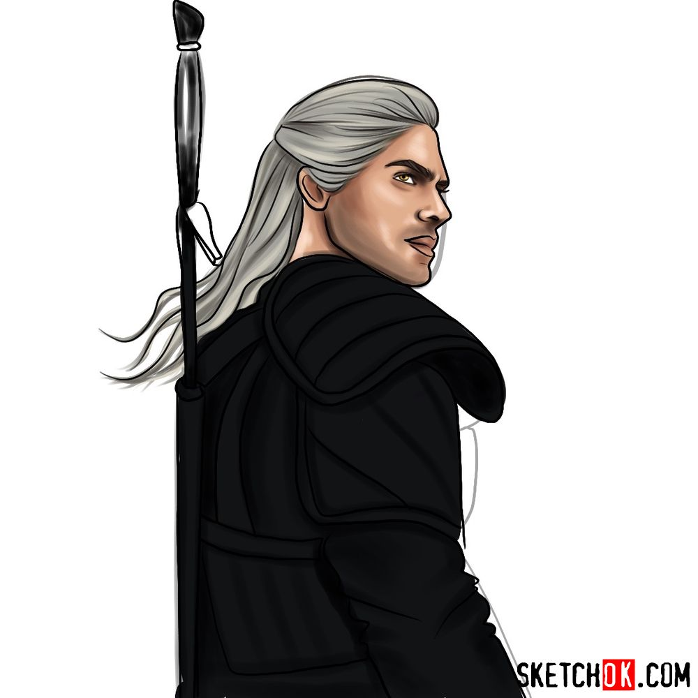 How to draw Geralt from Netflix series - step 15