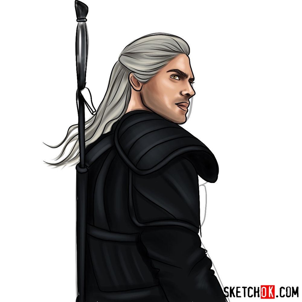 How to draw Geralt from Netflix series - step 16