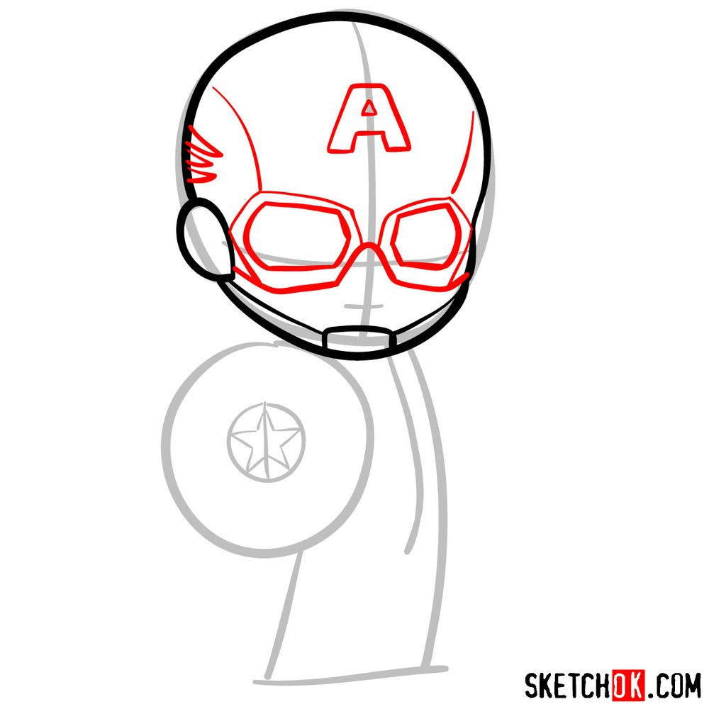 How to draw chibi Captain America - step 05